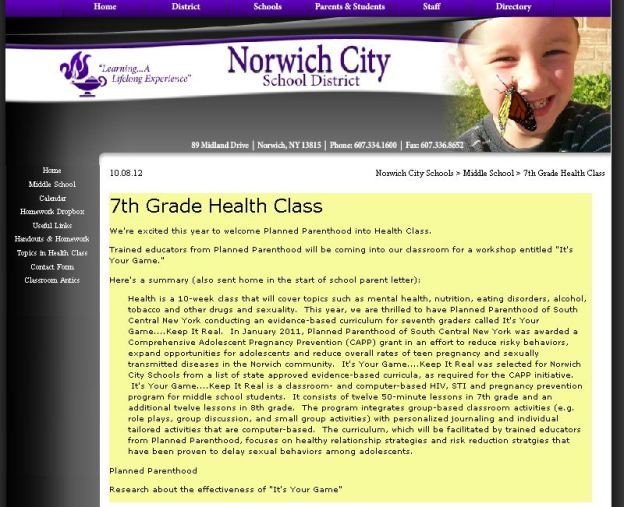 2012 CFISD IYG Norwich School District Planned Parenthood